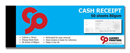 Cheque Book Style with stub 210mm x 74mm 50page 80gsm Cherry Cash Receipt