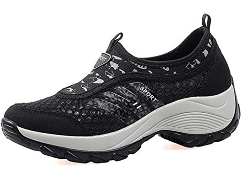 DADAWEN Women's Slip-On Platform Fitness Work Out Sneaker Black US Size 6/Asia Size 37