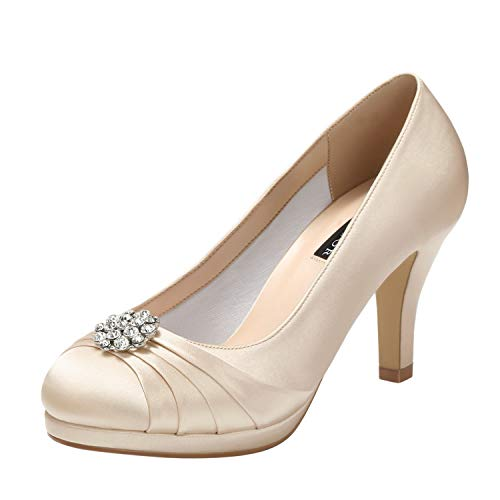 - ERIJUNOR E0101 Women Comfort Mid Heel Pumps Closed-Toe Satin Wedding Evening Party Dress Shoes Champagne Size7