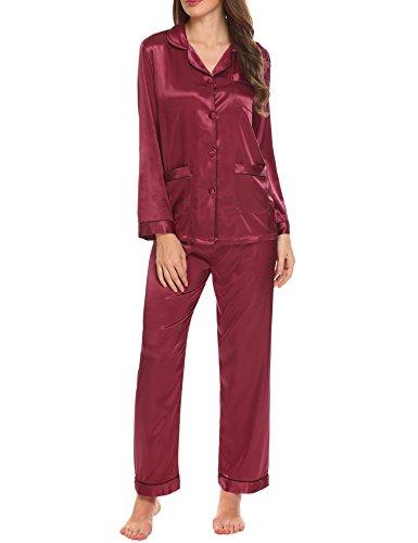 Fonc in rouge lunghe pigiameria pigiama maniche donne delle a raso A Set HOTOUCH xX7qpZP