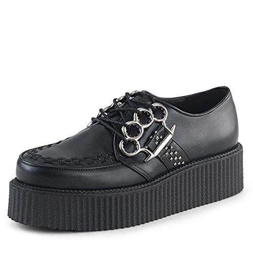 Higher Heels Demonia Herren Lace Creepers mit Schlagringen Creeper-516 Black Vegan Leather Schwarz