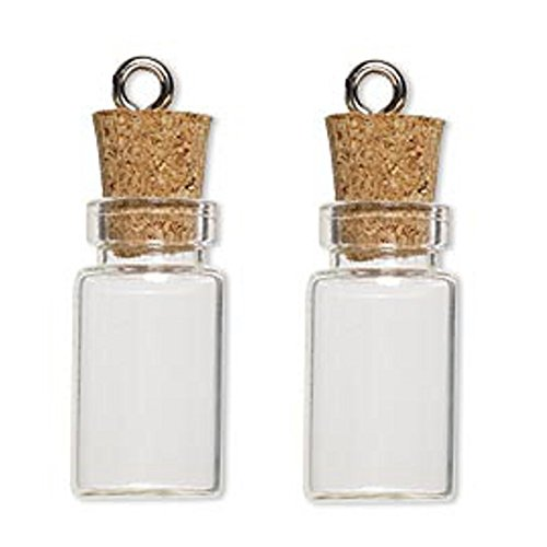 LEFV™ 50 Mini Glass Bottles 1-inch Message Treasure Charm Pendant Kit Makes Bottle Pendants 1ml Clear Vials with Corks & 50pcs Eye Screws - Miniature Empty Sample Jars