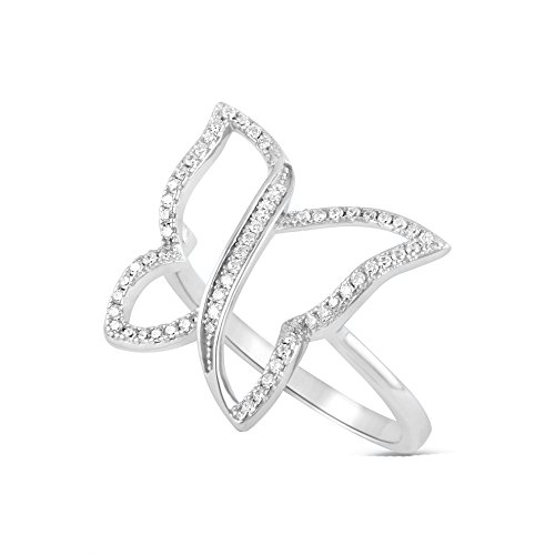 Butterfly Diamond Ring Cut (Sterling Silver Simulated Diamond Butterfly Ring - Size 8)