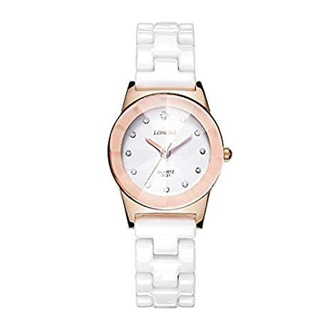Cerámica relojes Ladies impermeable Fashion Lady de cuarzo reloj, oro rosa