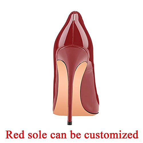 Women's Kmeioo Toe On Size High Shoes Heel Wine High Evening Party Pumps Heels Red Slip Plus Pointed Basic Stiletto EAArq