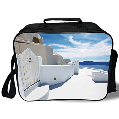 (Patio Decor 3D Print Insulated Lunch Bag,Modern Architecture House Veranda with Mountain Sea View Image,for Work/School/Picnic,White Light Blue Dark Blue )