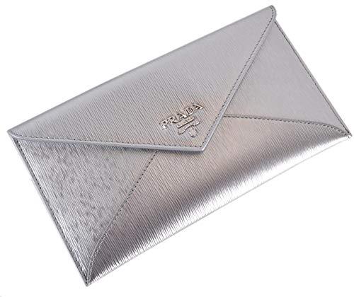 Prada Busta Con Pattina Cromo Silver Vitello Move Leather Envelope Wallet 1MF175