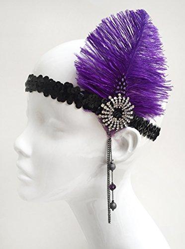 Purple Gatsby Feather Headpiece Flapper Costume -