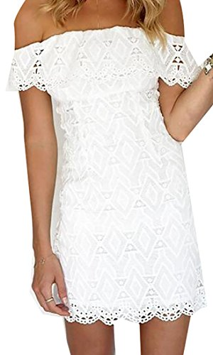 Jaycargogo Off Party Bodycon Club White Ruffle Shoulder Sexy Dress Lace Womens qr8EOr