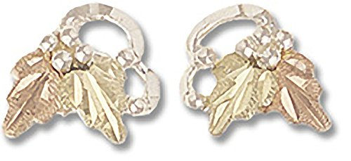 925 Sterling Silver Black Hills Stud Earrings with 12k Gold Leaves