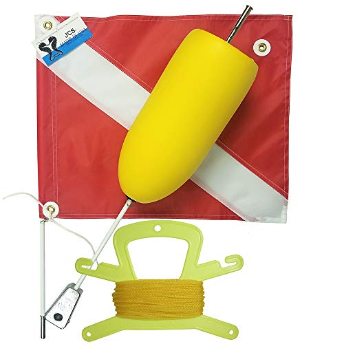 JCS Super Float with Standard 14inch x 18inch Nylon Dive Flag, Line Holder & 100 Feet Poly (Yellow) Line