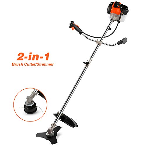couply 42.7CC 2-Cycle Gas String Trimmer, Straight Shafter Brush Cutter with Detachable Head for Weed Trimming, Weed Wacker 2 in 1