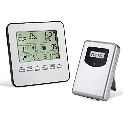 Price comparison product image Wireless Digital LCD Weather Station Alarm Clock Outdoor Indoor Thermometer Hygrometer Temperature Humidity Meter