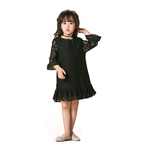 Girl Dress Lace Toddler Flounce Flower Girls Casual Dresses Sleeves (4, Black)