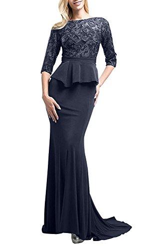 Blau Satin Spitze Braut Festlichkleider Langes La aus Meerjungfrau mia Abendkleider Navy Dunkel Brautmutterkleider Figurbetont xAvqwOq1