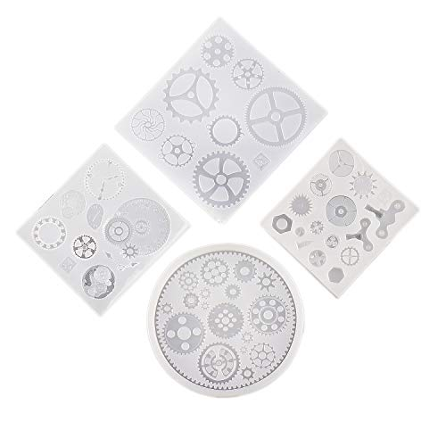 4 Pack Silicone Resin Jewelry Molds for Jewelry Making Unique Punk Gear Wheel Clock Designs