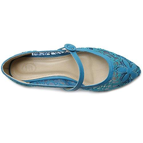 Ollio Kvinna Balett Skor Mary Jane Spets Komfort Flera Färger Platt Blå