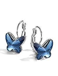 T400 Blue Purple Pink Butterfly Crystal Lever Back Stud Drop Earrings Graduation Gift for Women Girls