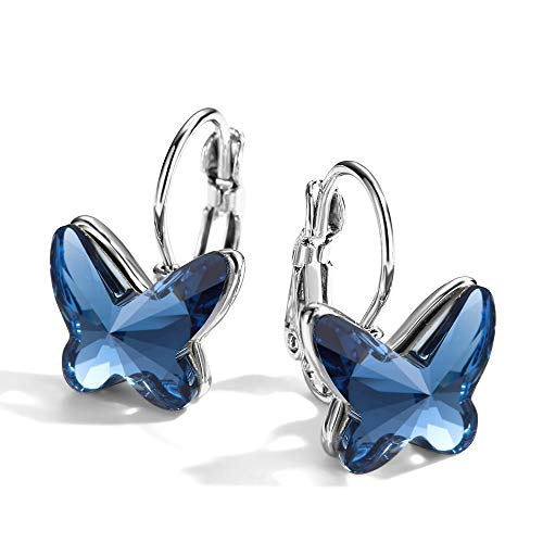 (T400 Blue Purple Pink Crystal Butterfly Earrings Lever Back ♥ Birthday Gift for Women Girls)