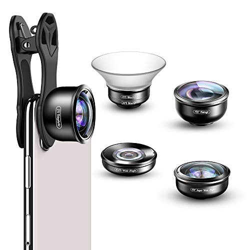 APEXEL Phone Lens Kit,5 in 1 Camera Lens Kit 170°Super (Fisheye)Wide Angle,15X-20X Macro Lens,2.0X Zoom Telephoto,0.6X Wide Angle,198°Fisheye Lens for iPhone XR/XS/XS MAX/X/8 7 6 Plus,Android,Samsung from Apexel