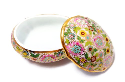 Thai Traditional Handicraft Pink Benjarong Ceramics Oval Bowl / Box / Plate with Cover