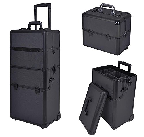 Professional 2in1 Aluminum Rolling Cosmetic Makeup Artist Train Case Hair Style 38'' Lock Box by Jamden