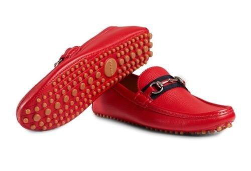 Gucci Men's 'Damo' Pebbled Leather Horsebit Driver, Red (Rosso) 322741 (US 8.5 UK - Red Gucci