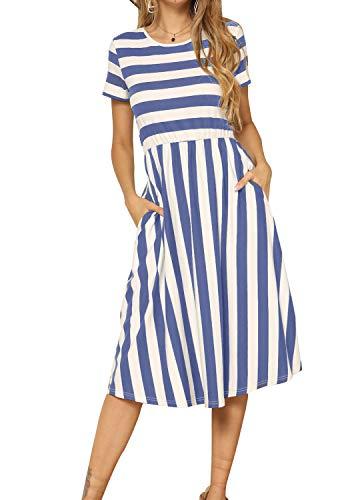 Striped Drop Waist Dress - 8