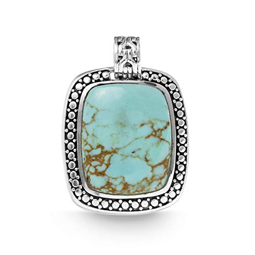 (WILLOWBIRD Simulated Turquoise Beaded Rectangle Pendant In Oxidized 925 Sterling Silver)