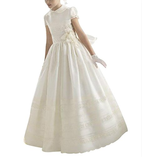 Capped Satin (Dreamdress Girl's Satin Capped Satin A-Line Flower Girl Dresses Kids Ball)