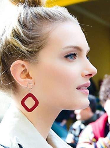 fishhook Square Earrings Simple Stud Earrings Retro Ethnic Geometric Bohemian Red Alloy Dangle Drop Earrings for Party Summer Casual Daily Wear