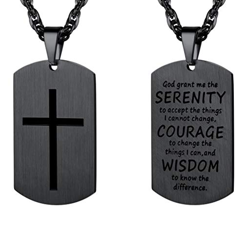 PROSTEEL Black Cross Pendants Necklaces,Dogtag,Men Jewelry,Inspirational Necklace,Bible Verse Jewelry,Military Dog Tag,Stainless Steel,Catholic Christian