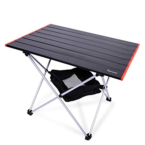 Portable Camping Tables, Sportneer Ultralight Camp Folding Side Table with Mesh Storage Bag, Aluminum Table Top Great for Camp, Picnic, Backpacks, Beach, Tailgate, Boat, M