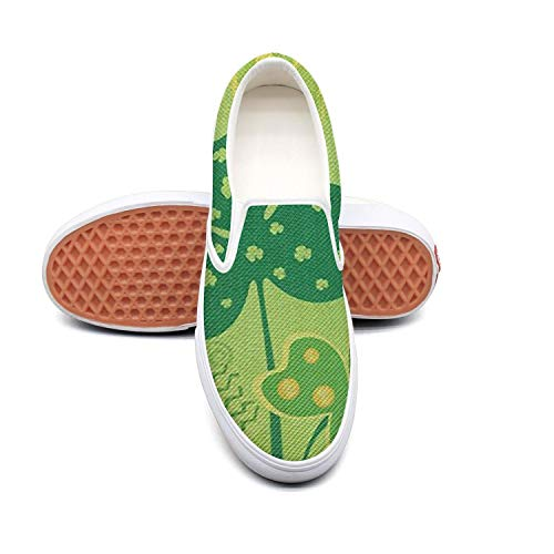 - Happy St. Patrick's Day clover white Canvas Sneakers for Men Low Top Breathable Cheap Running Shoes