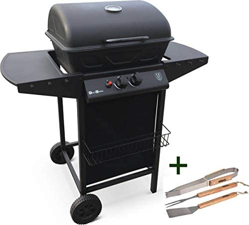 MaxxGarden Barbecue à gaz, avec 2 brûleurs en acier inoxydable – Grille de cuisson en acier inoxydable - barbecue de balcon/camping + kit BBQ