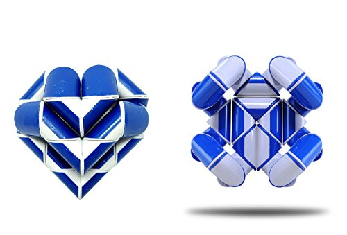 Genius Cells Funny Big Rubiks Magic Snake Cube Twist Puzzle Sky Blue Ruler Brain Teaser Adult and Children Love Heart Toy (Magic Rubiks Cube)