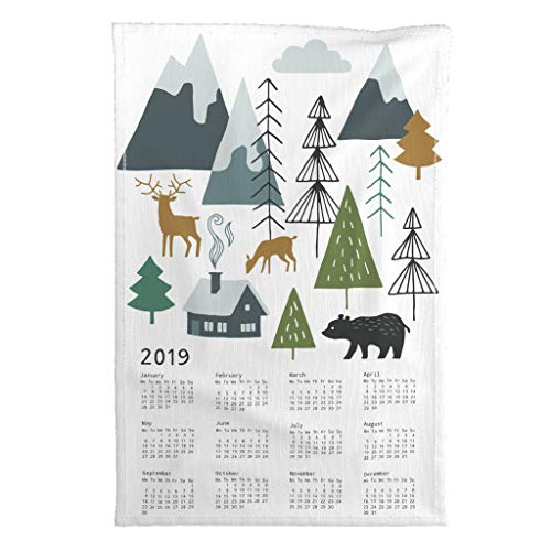 Roostery 2019 Tea Towel Calendar Mountain Adventure Bear Deer by Heleen Vd Thillart Special Edition Linen Cotton Tea Towel (Calendar Linen Tea Towel)
