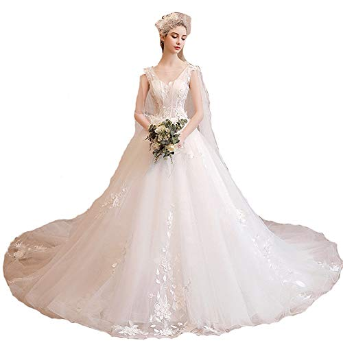 Wedding Dress Women Sleeveless Floral Applique Mesh Tulle Cathedral Train Bride Gown Wedding Dress Backless Modern Bridal Dress Formal Evening Prom Ball Gown Dress Evening Formal Pegeant Dance Gown (Cathedral Train Sleeveless)