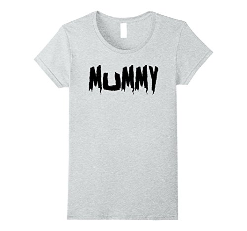 Womens Mom's Mummy T-Shirt Funny Mother's Halloween Costume Party Large Heather Grey