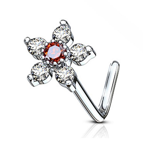 Six Gem Flower L-Shaped Surgical Steel Nose Ring Stud 20 Gauge (Clear/Red) (Ring Nose Red Gem)