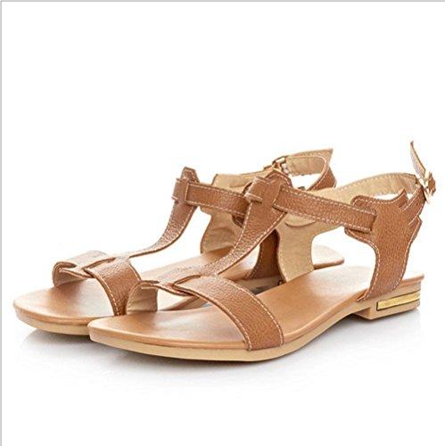 Hebilla del cinturón sandalias planas de las mujeres de las sandalias de las mujeres B
