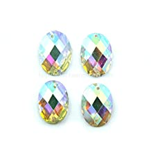 CRYSTAL AB OVAL SEW ON OR GLUE ON FLAT BACK SELLING PER PACK/300 PCS