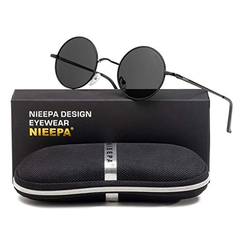 Round Hippie Sunglasses (NIEEPA John Lennon Vintage Round Polarized Hippie Sunglasses Small Circle Metal Driving Sun Glasses (Grey Lens/Black)