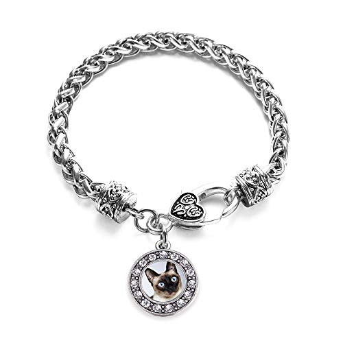 (Inspired Silver - Siamese Cat Braided Bracelet for Women - Silver Circle Charm Bracelet with Cubic Zirconia Jewelry)