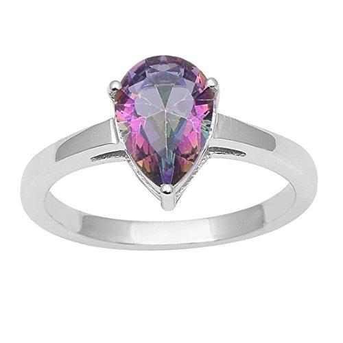Mystic Jewel (Shine Jewel Mystic Quartz Solid Gemstone 925 Sterling Silver Stylish Ring)
