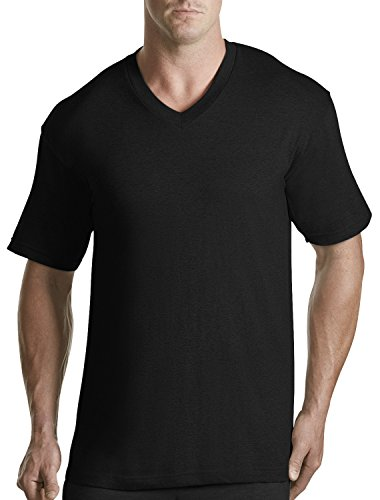 Harbor Bay by DXL Big and Tall 3-pk. V-Neck T-Shirts, Black 5X (Big And Tall Mens Clothing V Neck)