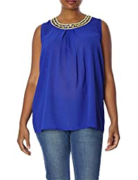 Love Collection Women Blouse – Plus-Size Top with Jewel...