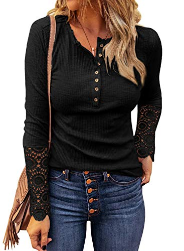 LOLONG Womens Henley V Neck T-Shirt Long Sleeve Lace Button Down Blouse Ribbed Slim-Fit Top