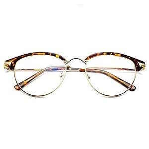 LOMOL Girls Retro Classic Personality Student Style Transparent Lens Frame Glasses(C3)