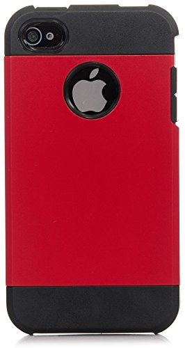 iPhone 4S Case, iPhone 4 Case iSee Case (TM) Luxury Tuff Super Armor Hybrid Dual Layer Protective Cover for Apple iPhone 4 4S(4S-Tuff Armor Red) (Iphone 4 Hybrid Armor Case)